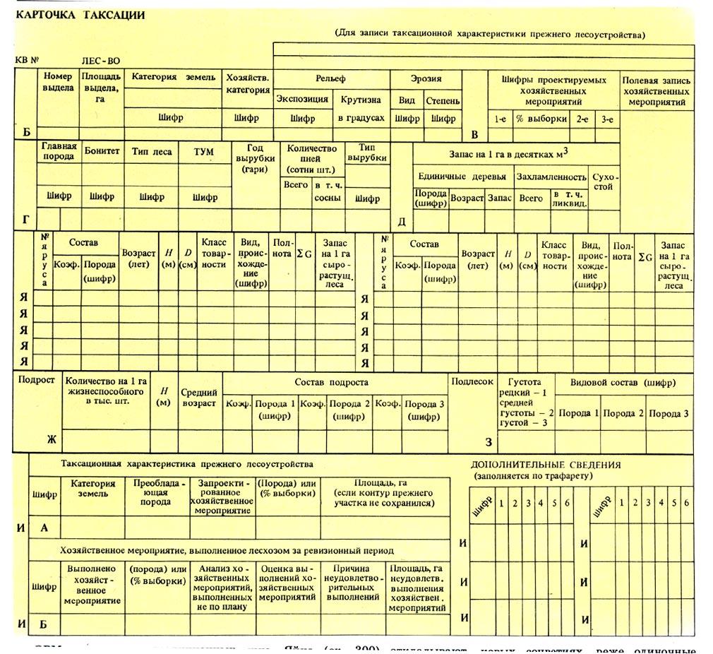 Карточка Таксации Бланк img-1