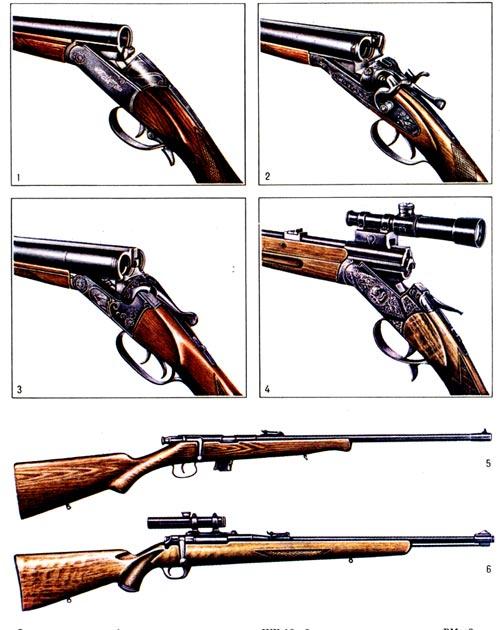 Типов охотничьих ружей очень много.  Их подразделяют по следующим признакам: применяемому снаряду...